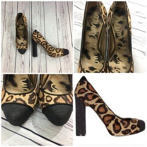 Sam Edelman Frances Leopard Black Glitter Heels